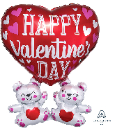 "26"" Happy Valentine's Day Floating Bears Foil Balloon"