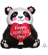 "16"" Happy Valentine&#39s Day Panda Junior Shape Foil Balloon"