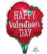 "18"" Happy Valentine&#39s Day Red Roses Foil Balloon"
