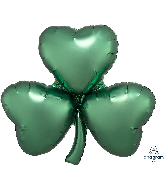 "29"" Satin Emerald Shamrock SuperShape Foil Balloon"