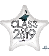 "18"" Class of 2019 - White Foil Balloon"