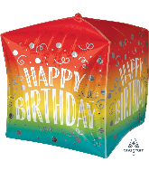 "15"" Cubez Happy Birthday Gradient Swirls Balloon"