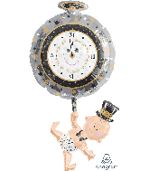 "39"" SuperShape Baby Holding Clock Balloon Packaged"