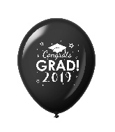 "11"" Congrats Grad 2019 Latex Balloons 25 Count Black"