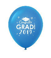 "11"" Congrats Grad 2019 Latex Balloons 25 Count Blue"