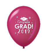 "11"" Congrats Grad 2019 Latex Balloons 25 Count Burgundy"
