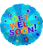"17"" Get Well Soon Silver Burst Balloon"