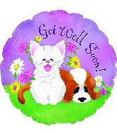 "17"" Get Well Kitten & Puppy Foil Balloon"