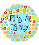 "17"" It's A Boy Colorful Dots Foil Balloon"