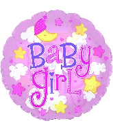 "9"" Airfill Baby Girl Clear Film Balloon"