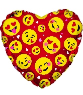 "17"" Smile Faces Emoji Red Foil Balloon"