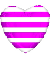 "18"" Hot Pink Stripes Foil Balloon"