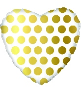 "18"" Gold Polka Dot Heart Foil Balloon"