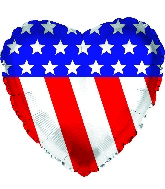 "9"" Airfill Only Patriotic Heart Foil Balloon"