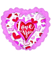 "14"" Airfill Only Happy Valentine's Day Chevron W/Ruffle"