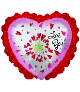 "14"" Airfill Only Love You Flower with lace Foil Balloon"