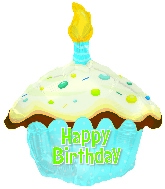 "17"" Happy Birthday Day Blue Cupcake Shape Balloon"