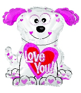 "12"" Airfill Only Love You Pink and White Doggie"