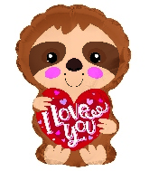 "10.5"" I Love You Sloth Balloon"