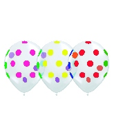 "12"" Clear Multi Polka Dots Latex Balloons (50 Per Bag)"