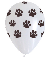 "12"" Paw Prints Assorted Latex Balloons (50 Per Bag)"