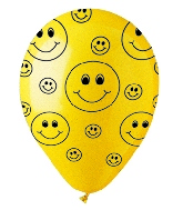"12"" Crystal Yellow Smiley Faces  Latex 50&#39s"