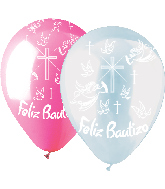 "12"" 50 Pack Felix Bautizo Latex Clear and Pink"