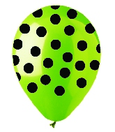 "12"" Lime with Black Polka Dot Latex 50's"