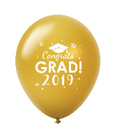 "11"" Congrats Grad 2019 Latex Balloons 25 Count Gold"