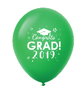 "11"" Congrats Grad 2019 Latex Balloons 25 Count Green"