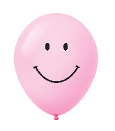 "11"" Smiley Face Latex Balloons 25 Count Pastel Pink"