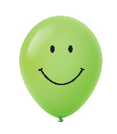 "11"" Smiley Face Latex Balloons 25 Count Lime Green"