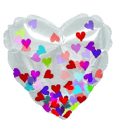 "4.5"" Airfill Only Confetti Hearts Clear Foil Balloon"