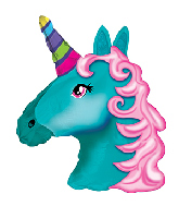 "10"" Airfill Only Turquoise Unicorn Foil Balloon"