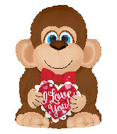 "22"" I Love You Monkey Foil Balloon"