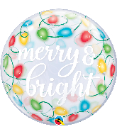 "22"" Round Merry & Bright Lights Bubble Balloon"