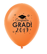 "11"" Congrats Grad 2019 Latex Balloons 25 Count Orange"