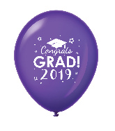 "11"" Congrats Grad 2019 Latex Balloons 25 Count Purple"