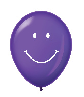 "11"" Smiley Face Latex Balloons 25 Count Purple"