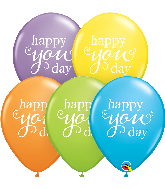 "11"" Simply Happy You Day Bright Pastel Latex Balloons"