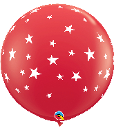 "36"" Contempo Stars-A-Round Red Latex Balloons"
