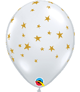 "11"" Contempo Stars Diamond Clear Latex Balloons"