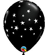 "11"" Contempo Stars Onyx Black Latex Balloons"
