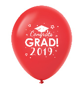 "11"" Congrats Grad 2019 Latex Balloons 25 Count Red"