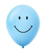 "11"" Smiley Face Latex Balloons 25 Count Pastel Blue"