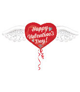 "47"" Intricates Happy Valentines Day Heart with Wings Balloon"