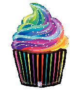 "27"" Foil Shape Balloon Rainbow Cupcake"