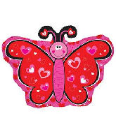 "12"" Airfill Only Hearts Butterfly Foil Balloon"