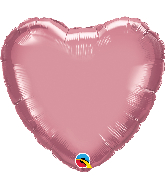 "18"" Heart Qualatex Chrome™ Mauve Foil Balloon"