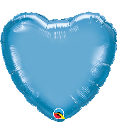 "18"" Heart Qualatex Chrome™ Blue Foil Balloon"